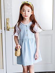 Menina de Vestido Color Block Outros Manga Longa