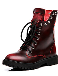 Women's Boots Motorcycle Boots Nappa Leather Spring Summer Casual Outdoor Office & Career Motorcycle Boots Rivet Low HeelRuby Earth