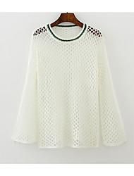 Damen Solide Einfach Alltag T-shirt,Rundhalsausschnitt Langarm Andere