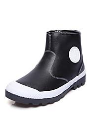 Damen Stiefel Modische Stiefel Stiefeletten Kunstleder Herbst Winter Normal Modische Stiefel Stiefeletten Flacher Absatz Weiß Schwarz Grau