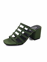 Women's Sandals Light Soles Patent Leather Summer Wedding Party & Evening Dress Walking Light Soles Pearl Chunky HeelLight Green Blushing