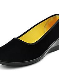 Для женщин Мокасины и Свитер Удобная обувь Ткань Весна Лето Повседневные Удобная обувь На танкетке Черный Менее 2,5 см