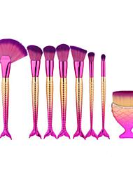 8pcs русалка рыба форму макияж вентилятор щетка про мягкой косметической кисти комплект kabuki комплект