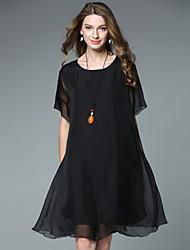 JIANRUYI Women's Going out Simple Loose Chiffon DressSolid Round Neck Asymmetrical Short Sleeve Silk Summer High Rise Inelastic Thin