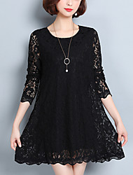 Women's Going out Casual/Daily Plus Size Street chic Lace Dress,Solid Round Neck Above Knee Long Sleeves Polyester Fall Mid Rise Inelastic