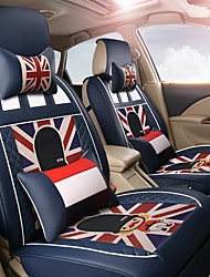 Cartoon Car Seat Cushion Leather Seat Cover Four Seasons General Flax Seat - German Blue Empire Soldier