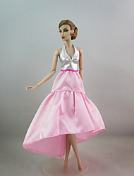 Pink Fashion Dress For Barbie Doll For Girl's Doll Toy