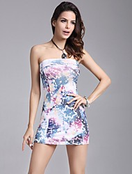 Women's Strapless Flag Galaxy Print Short Bodycon Sheath Short Dress