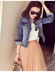 Women's Daily Modern/Comtemporary Spring Denim Jacket,Solid Shirt Collar Long Sleeve Short Others