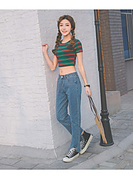 Women's High Waist Micro-elastic Jeans Pants,Simple Relaxed Loose Pure Color Solid Sexy