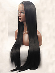 Good Quality Natural Fashion Realistic Natural Black Long Straight Wig Glueless Synthetic Lace Front Wigs Half Hand Tied Hair for Women