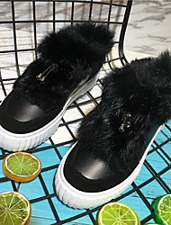 Women's Boots Comfort Cowhide Winter Casual White Black 1in-1 3/4in