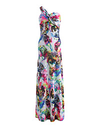 Women's Beach Holiday Going out Sexy Simple Cute Swing Dress,Floral Print One Shoulder Maxi Sleeveless Milk Fiber Summer High Rise