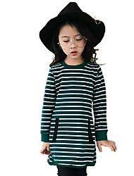 Girls' Stripe Tee,Cotton Fall All Seasons Long Sleeve Regular