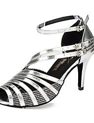 Damen Latin Leder Sandalen Sneakers Professionell Verschlussschnalle Stöckelabsatz Weiß Schwarz Silber Maßfertigung