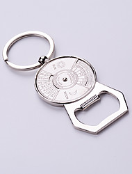 Useful Beer Bottle Opener Key Chain Silver Color Calendar Fashion Design Clasp Round Circle Connected Key Rings Key Holder