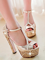Women's Sandals Comfort PU Summer Wedding Casual Party & Evening Comfort Silver Gold 5in & over