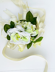 Yuxiying Wedding Wrist Corsages  White Green Small Rose