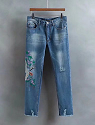 Femme Street Chic Taille Normale strenchy Jeans Pantalon,Large Bandes Fleur Imprimé Broderie