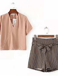 Для женщин Повседневные Лето Рубашка Брюки Костюмы V-образный вырез,На каждый день Однотонный Полоски С короткими рукавами