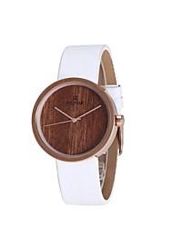 REDEAR®Women's Fashion Watch Wood Watch Japanese Quartz Wooden PU Band Charm Elegant White