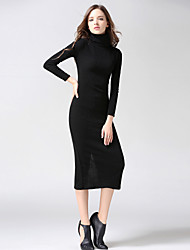 Women's Going out Casual/Daily Sexy Vintage Cute Bodycon Sweater Dress,Solid Turtleneck Midi Long Sleeve80% Cashmere 20% Silk 98%Cotton
