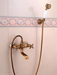 Wall Mounted Bath Faucet with Hand Shower Antique Bronze Bath Shower Set