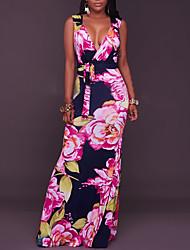 Для женщин Для вечеринок Праздники Для клуба Секси Винтаж Богемный Облегающий силуэт Платье Цветочный принт,Глубокий V-образный вырез