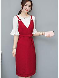 Для женщин Другое Повседневные Весна Лето Рубашка Платья Костюмы Круглый вырез,Простой Однотонный 1/2 Length Sleeve