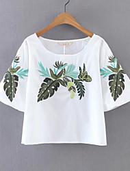 Damen Stickerei Einfach Alltag Normal T-shirt,Rundhalsausschnitt Halbe Ärmel Baumwolle