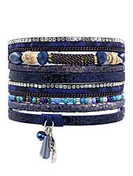 Жен. Кожаные браслеты Бижутерия Природа Мода Богемия Стиль Турецкий бижутерия Кристаллы Кожа В форме квадрата Бижутерия Назначение