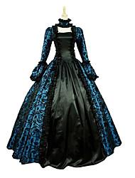 Uma-Peça/Vestidos Gótica Steampunk® Vitoriano Cosplay Vestidos Lolita Azul Roxo Vermelho Vintage Manga Longa Comprimento Longo Vestido