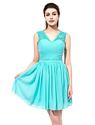 Honeymoon Cocktail Party Dress Sheath / Column V-neck Short/Mini Chiffon Lace with Lace Side Draping