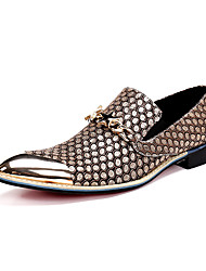 Men's Shoes Nappa Leather Spring Summer Fall Winter Comfort Novelty Loafers & Slip-Ons Walking Shoes Buckle Metallic Toe For Casual Black