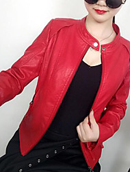 Women's Daily Modern/Comtemporary Fall Leather Jacket,Solid Stand Long Sleeve Short Others