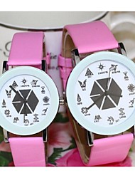 Couple's Fashion Watch Quartz Leather Band Black White Blue Red Pink Purple Yellow Rose