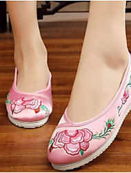 Women's Dance Sneakers Fabric Flats Practice Blushing Pink Ruby Beige