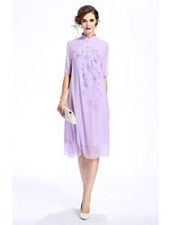 Ample Robe Femme Sortie Décontracté / Quotidien Vintage simple Chinoiserie,Couleur Pleine Broderie Mao Asymétrique Demi Manches Polyester