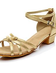 "Women's Latin Synthetic Microfiber PU Heels Beginner Buckle Low Heel Gold Black Silver Under 1"" Customizable"