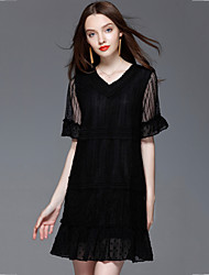 Women's Plus Size Slim chic Loose Lace Dress Solid Patchwork Flare Sleeve V Neck Mini Short Sleeve Summer