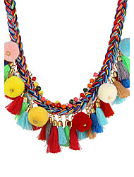 Bohemian Handmade Colorful Braided with Pom Pom and Tassels Statement Necklace Collar