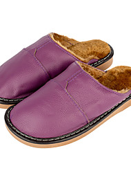 Winter Womens Bedroom Leather Slippers Slip-On Skidproof  Indoor Shoes