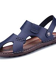 Men's Sandals Comfort PU Spring Summer Casual Comfort Low Heel Dark Brown Blue Under 1in