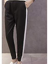 Femme simple Actif Taille Normale Micro-élastique Actif Pantalon,Large Bandes Rayé Couleur Pleine