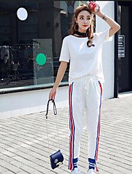 Women's Sports Nature Inspired Summer T-shirt Pant Suits,Solid Color Round Neck Short Sleeve