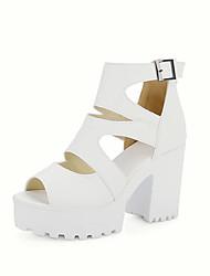 Damen Sandalen Pumps PU Sommer Hochzeit Kleid Pumps Kombination Blockabsatz Weiß Schwarz Gelb 7,5 - 9,5 cm