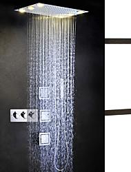 Moderno LED Sistema ducha Rociador Ducha lluvia Alcachofa incluida Luces with  Válvula Cerámica Tres manijas cinco hoyos for  Cromo ,