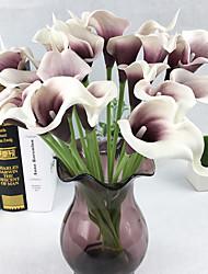 10 Ramo Couro Ecológico Toque real Lírios Flor de Mesa Flores artificiais