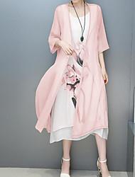 Tunique Robe Femme Sortie Décontracté / Quotidien Couleur Pleine Fleur Col Arrondi Midi Demi Manches Coton Polyester Printemps EtéTaille