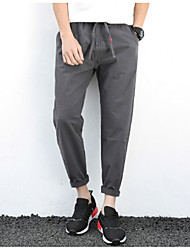 Men's High Rise Inelastic Chinos Pants,Simple Loose Solid